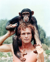 Tarzan 1966 TV series Ron Ely as Tarzan with Cheetah monkey 12x18 inch Poster
