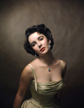 Elizabeth Taylor beautiful 1950's studio portrait in low cut dress 12x18 poster