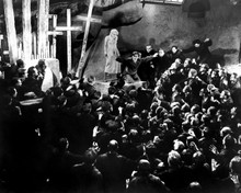 Metropolis crowd scene with crosses in graveyard 12x18  Poster