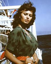 Sophia Loren beautiful 1950's pose in green dress on cruise ship 12x18  Poster