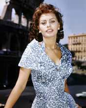 Sophia Loren 1950's glamour pose in white and blue dress 12x18  Poster