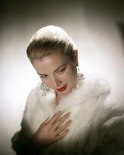 To Catch a Thief Grace Kelly studio glamour pose in white fur coat 12x18  Poster