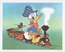 Donald Duck riding train vintage Disney 1980's 8x10 print