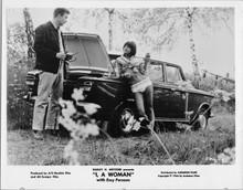 I A Woman original 1966 8x10 photograph Essy Persson leans against Fiat 500 car