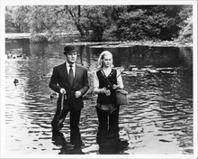 The Avengers TV series 1980's 8x10 photo Patrick Macnee fishes with unknown girl