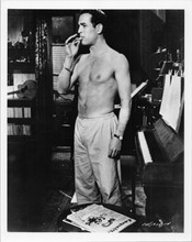 Paul Newman hunky 8x10 bare chested photo smoking cigarette printed 1970's