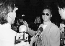 Michael Keaton original 1989 8x10 photo meeting press for Batman movie