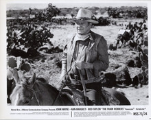 John Wayne on horseback in desert original 1973 8x10 photo The Train Robbers