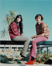 Sonny Bono and Cher full length 1960's pose in LA by ocean 8x10 photo