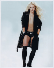 Britney Spears striking full length pose in open black coat and boots 8x10 photo