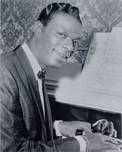 Nat King Cole smiling pose seated at his piano 8x10 photo
