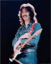 Eric Clapton 1970's in concert pose in denim with guitar 8x10 photo