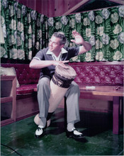 Desi Arnaz full length 1950's pose playing bongos at home 8x10 photo
