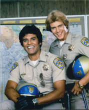 Chips TV series 1983 8x10 photo Tom Reilly Erik Estrada portrait in front of map