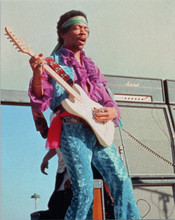 Jimi Hendrix cool pose playing guitar at outdoor concert 8x10 press photo