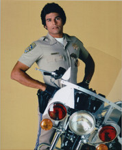 Erik Estrada 8x10 studio portrait with police motorbike Chips TV series