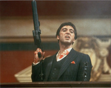 Al Pacino bloodied holding up machine gun 8x10 photo Scarface