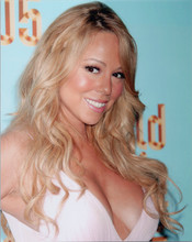 Mariah Carey with huge cleavage in white dress smiling candid 8x10 photo