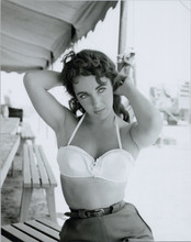 Elizabeth Taylor beautiful pose hands in hair in white bra on Giant set 8x10