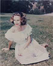 Teresa Wright Hollywood glamour pose seated on grass 8x10 photo