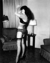 Bettie Page full length pose in black stockings panties and bra 8x10 photo