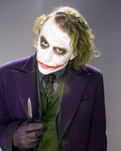 Heath Ledger as Joker holding knife 8x10 studio portrait The Dark Knight