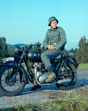 Steve McQueen in German Army uniform sits on Triumph bike Great Escape 8x10