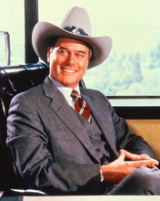 Larry Hagman smiling portrait as JR Ewing wearing stetson Dallas 8x10 photo