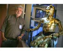 George Lucas posing with seated C3PO 8x10 press photo