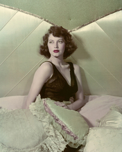 Ava Gardner beautiful pose in black nightdress c.1940s sitting in bed 8x10 photo