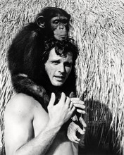 Ron Ely as TV's Tarzan posing with Cheetah on his head 8x10 photo