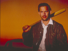Bull Durham Kevin Costner with baseball bat over shoulder 8x10 photo