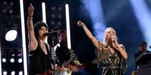 Joan Jett Carrie Underwood in concert 8x10 press photograph