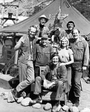 M.A.S.H Alan Alda Loretta Swit Mike Farrell with cast outside tent by signs 8x10