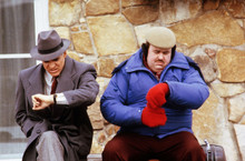 Planes Trains and Automobiles Steve Martin John Candy sit outside inn 8x10 photo