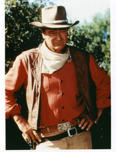 John Wayne wearing famous Red River belt in outfit from El Dorado 8x10 photo