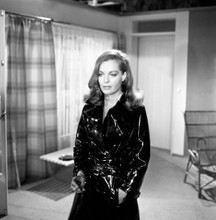 Romy Schneider classic pose in shiny black raincoat with cigarette 8x10 photo