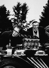 The Munsters Herman and Grandpa tinker with Munster car 8x10 photo