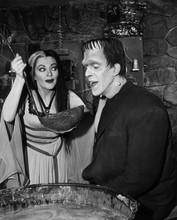 The Munsters Lily and Herman in kitchen sampling soup 8x10 photo