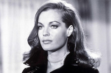 Romy Schneider beautiful 1970's portrait with long hair in black jacket 8x10