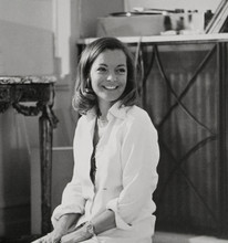 Romy Schneider lovely smiling portrait in white circa mid 1960's 8x10 photo