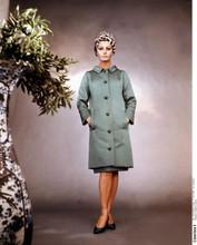 Sophia Loren full length studio pose in green overcoat & hat 8x10 photo