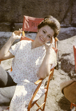 Sophia Loren relaxes in chair smoking on set Fall of the Roman Empire 8x10 photo