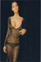 Monica Bellucci busty pose in sheer black dress 8x10 glamour photo