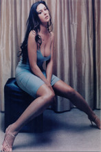 Monica Bellucci huge cleavage 8x10 photo in blue dress seated