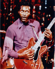 Chuck Berry plays his guitar in purple western style shirt 8x10 press photo