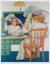 Shirley Temple 1930's artwork Shirley looks in mirror 8x10 photo
