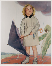 Shirley Temple full length pose in raincoat with umbrella 1930's artwork 8x10