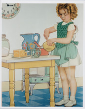 Shirley Temple 1930's artwork in kitchen making cake 8x10 photo