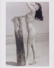 Bettie Page full length pose in bikini barefoot on beach 8x10 photo